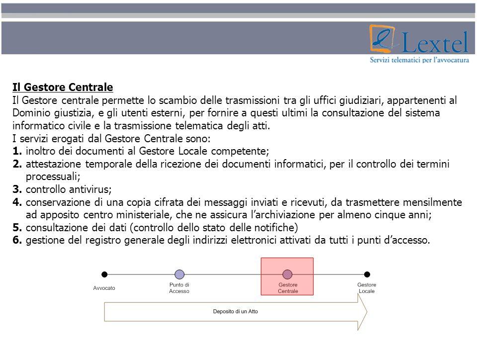 Il Gestore Centrale Il Gestore centrale permette lo scambio delle trasmissioni tra gli uffici giudiziari, appartenenti al.