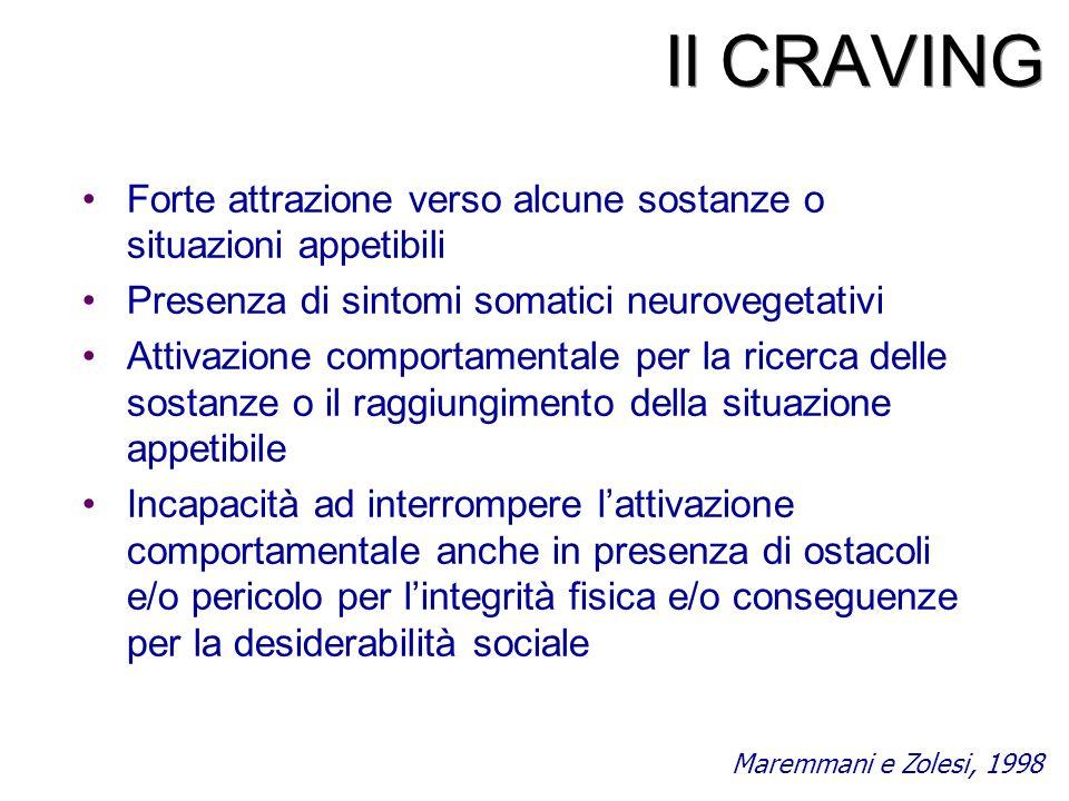 Il CRAVING Forte attrazione verso alcune sostanze o situazioni appetibili. Presenza di sintomi somatici neurovegetativi.