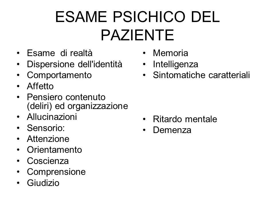 ESAME PSICHICO DEL PAZIENTE