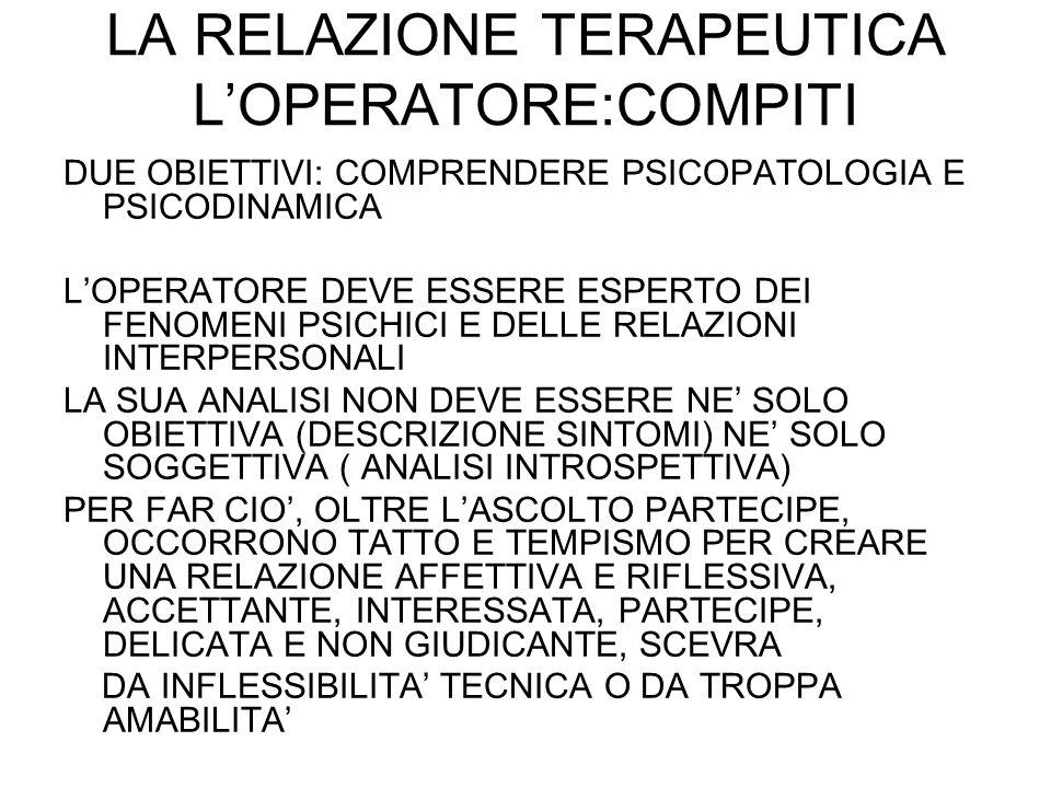 LA RELAZIONE TERAPEUTICA L'OPERATORE:COMPITI