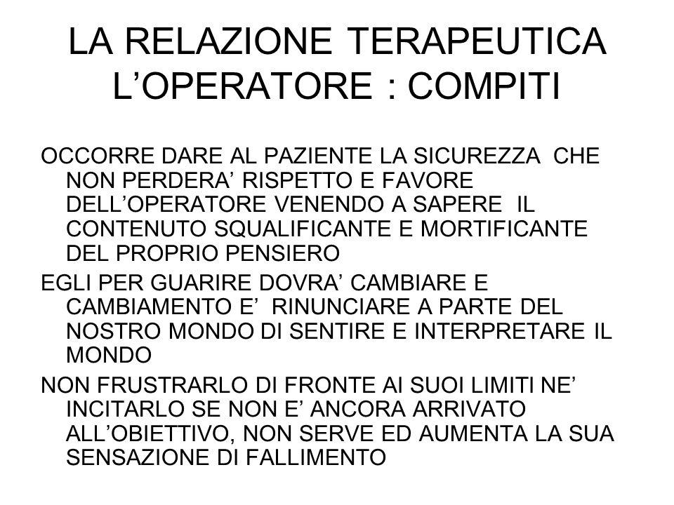 LA RELAZIONE TERAPEUTICA L'OPERATORE : COMPITI