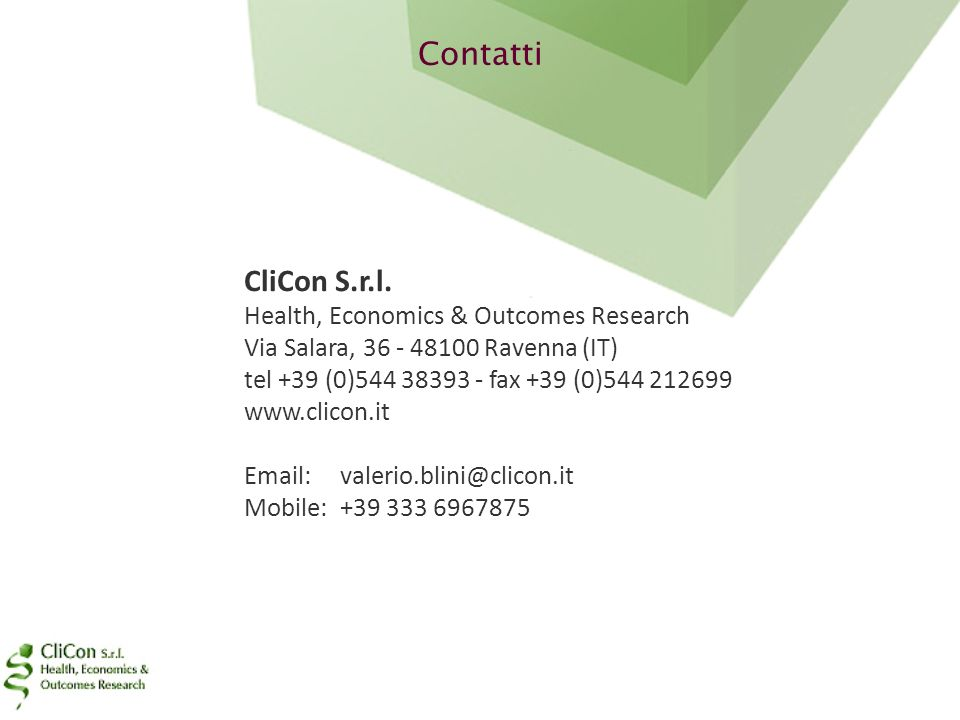 Contatti CliCon S.r.l. Health, Economics & Outcomes Research