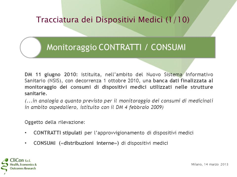 Tracciatura dei Dispositivi Medici (1/10)