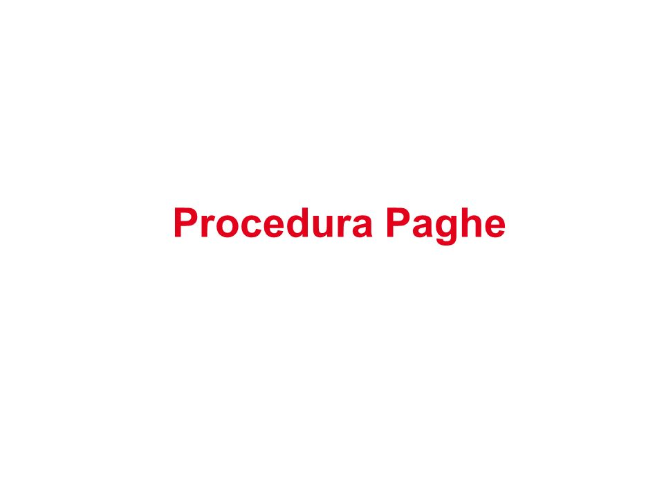 Procedura Paghe 1