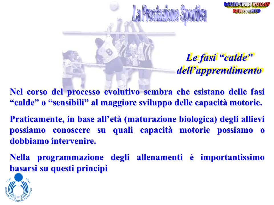 La Prestazione Sportiva Le fasi calde dell'apprendimento