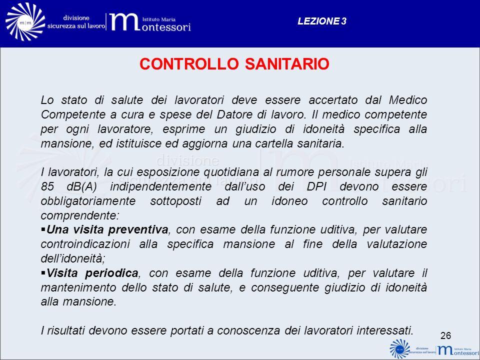 LEZIONE 3 CONTROLLO SANITARIO.