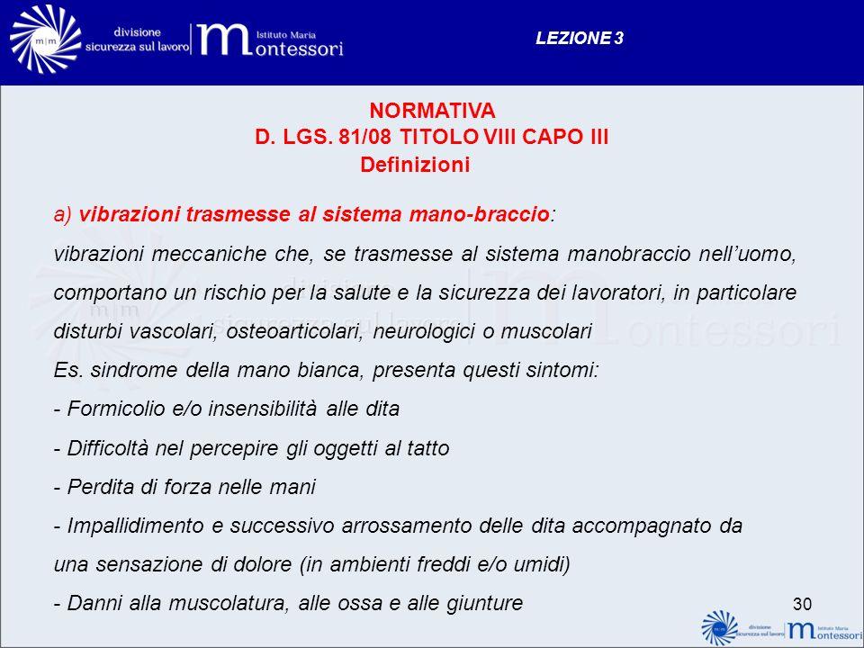 D. LGS. 81/08 TITOLO VIII CAPO III