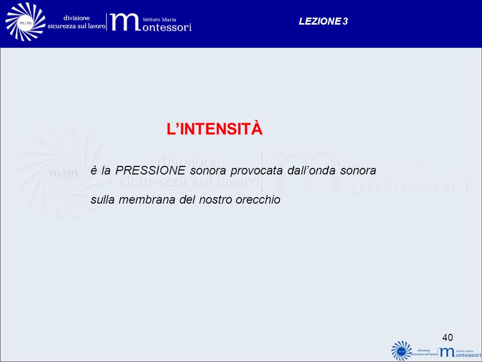 LEZIONE 3 L'INTENSITÀ.