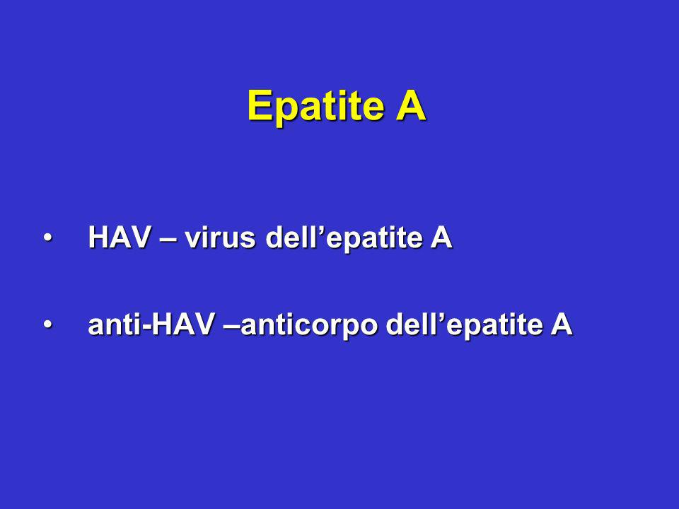 HAV – virus dell'epatite A anti-HAV –anticorpo dell'epatite A