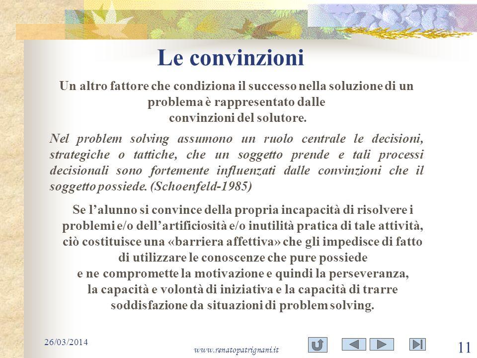 Le convinzioni Un altro fattore che condiziona il successo nella soluzione di un problema è rappresentato dalle convinzioni del solutore.