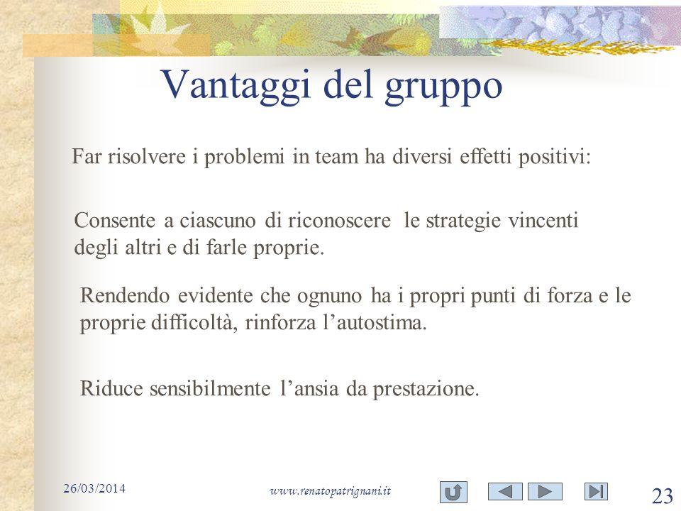 Vantaggi del gruppo Far risolvere i problemi in team ha diversi effetti positivi: