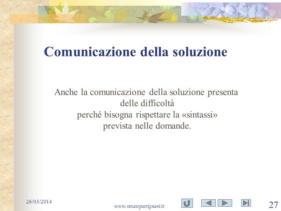 Comunicazione della soluzione