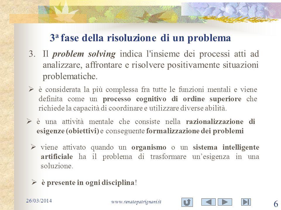 3a fase della risoluzione di un problema