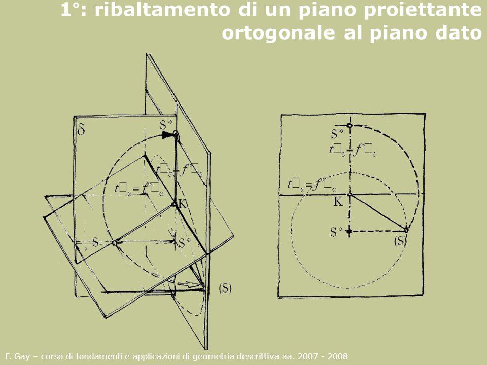 1°: ribaltamento di un piano proiettante ortogonale al piano dato