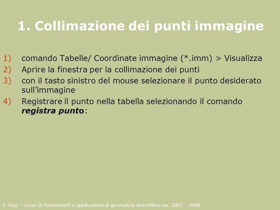 1. Collimazione dei punti immagine
