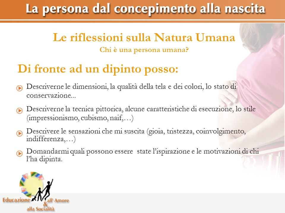Le riflessioni sulla Natura Umana Chi è una persona umana