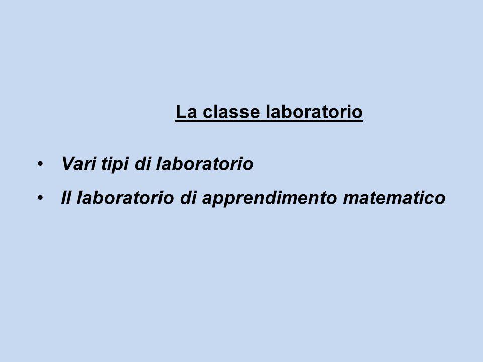 La classe laboratorio Vari tipi di laboratorio Il laboratorio di apprendimento matematico