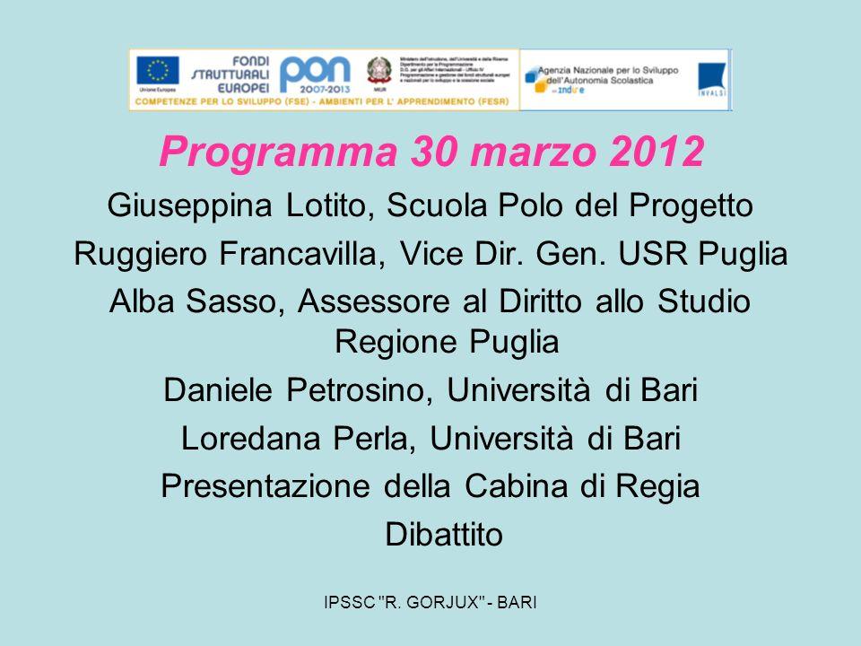 Programma 30 marzo 2012 Giuseppina Lotito, Scuola Polo del Progetto