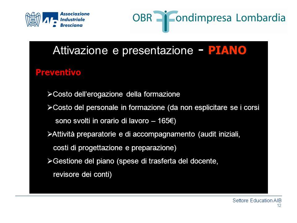 Attivazione e presentazione - PIANO