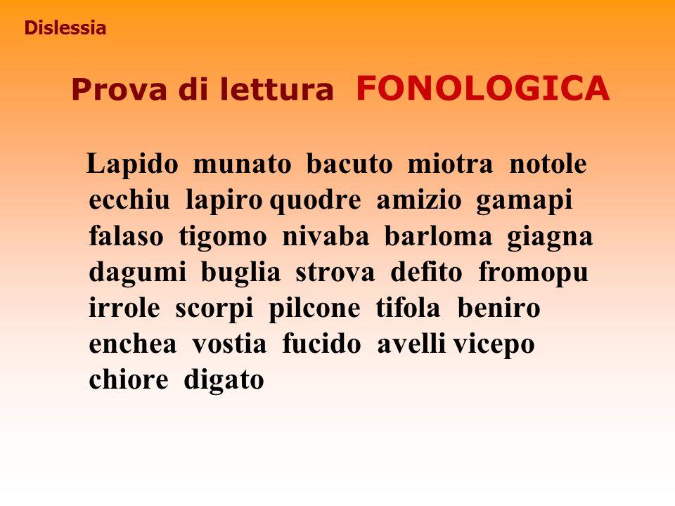Prova di lettura FONOLOGICA
