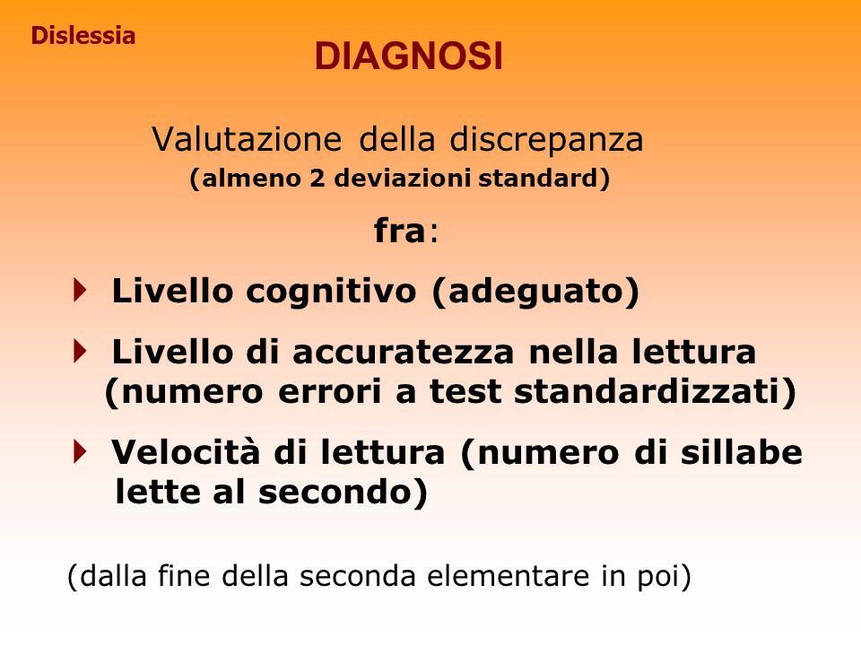 DIAGNOSI Valutazione della discrepanza Livello cognitivo (adeguato)