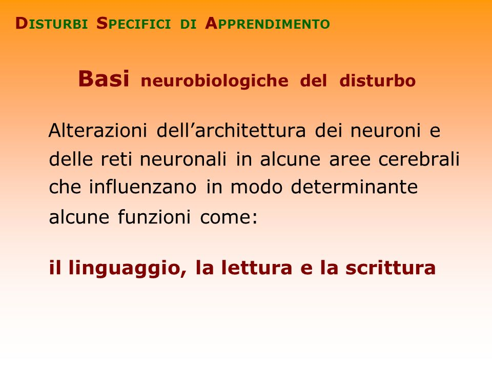 Basi neurobiologiche del disturbo