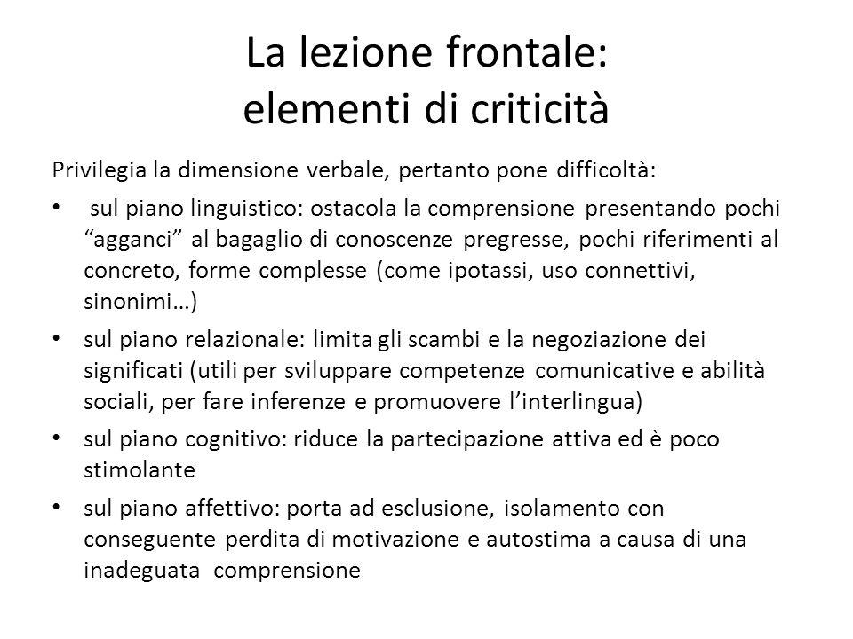 La lezione frontale: elementi di criticità