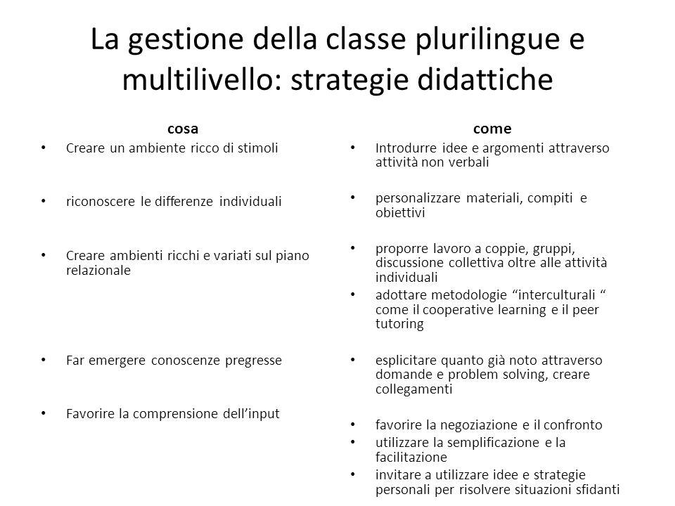 La gestione della classe plurilingue e multilivello: strategie didattiche