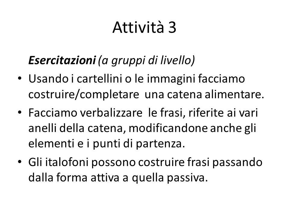 Attività 3 Esercitazioni (a gruppi di livello)
