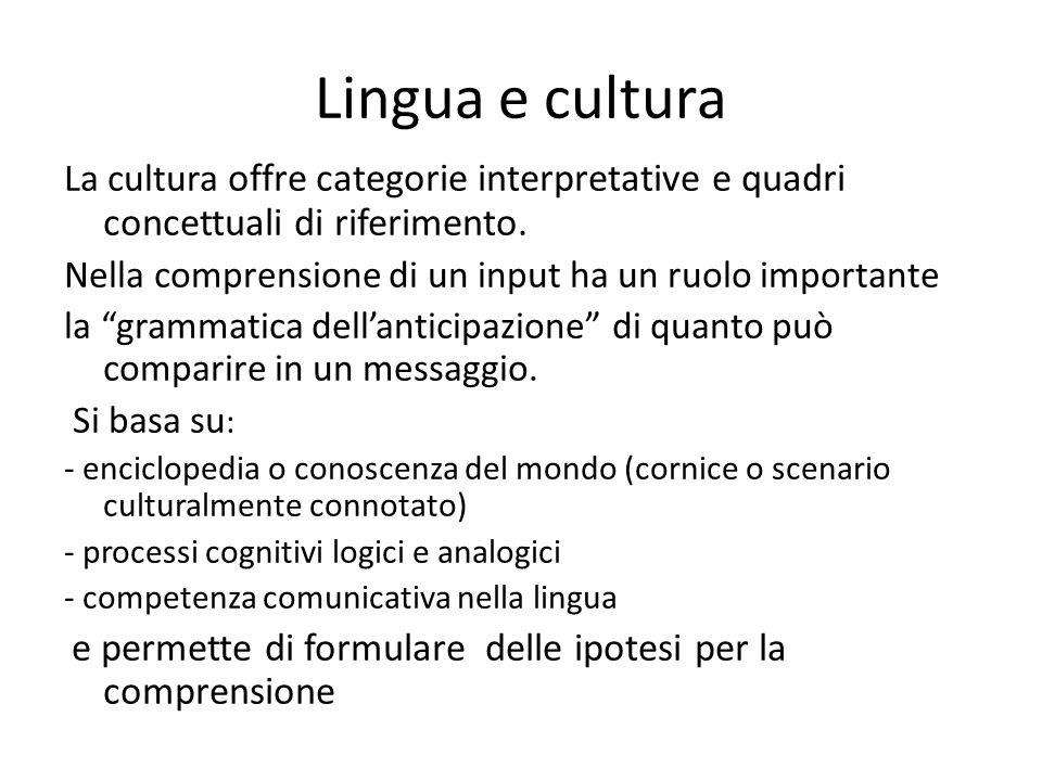 Lingua e cultura La cultura offre categorie interpretative e quadri concettuali di riferimento.