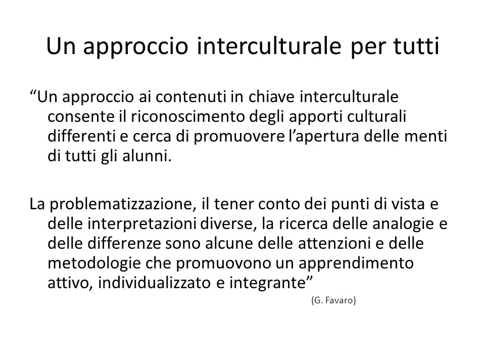 Un approccio interculturale per tutti