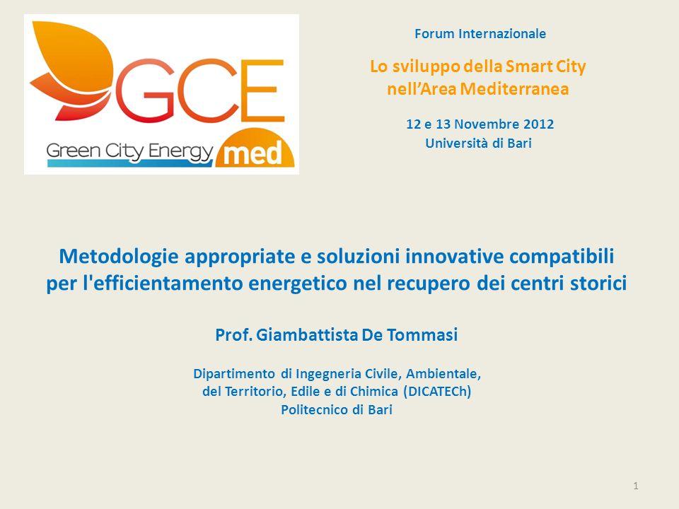 Forum InternazionaleLo sviluppo della Smart City. nell'Area Mediterranea. 12 e 13 Novembre 2012. Università di Bari.