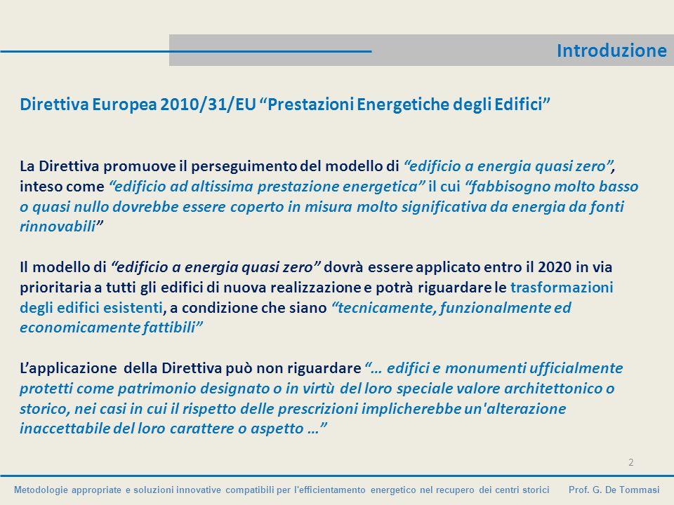Introduzione Direttiva Europea 2010/31/EU Prestazioni Energetiche degli Edifici