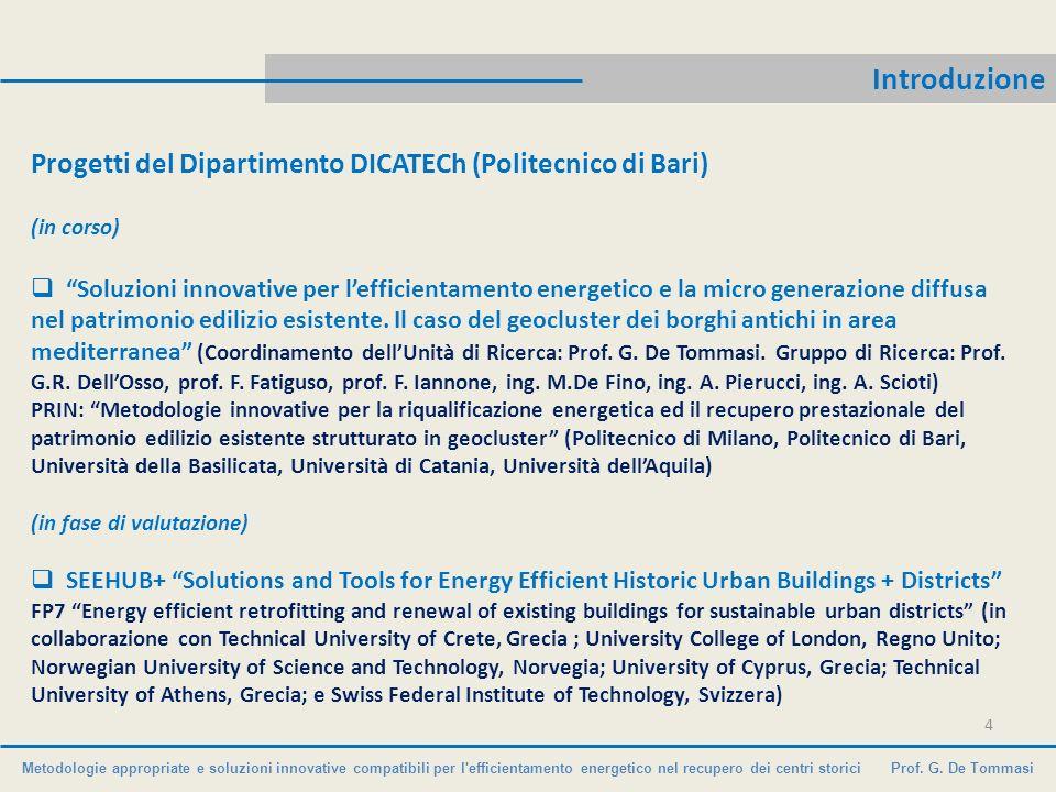Introduzione Progetti del Dipartimento DICATECh (Politecnico di Bari)