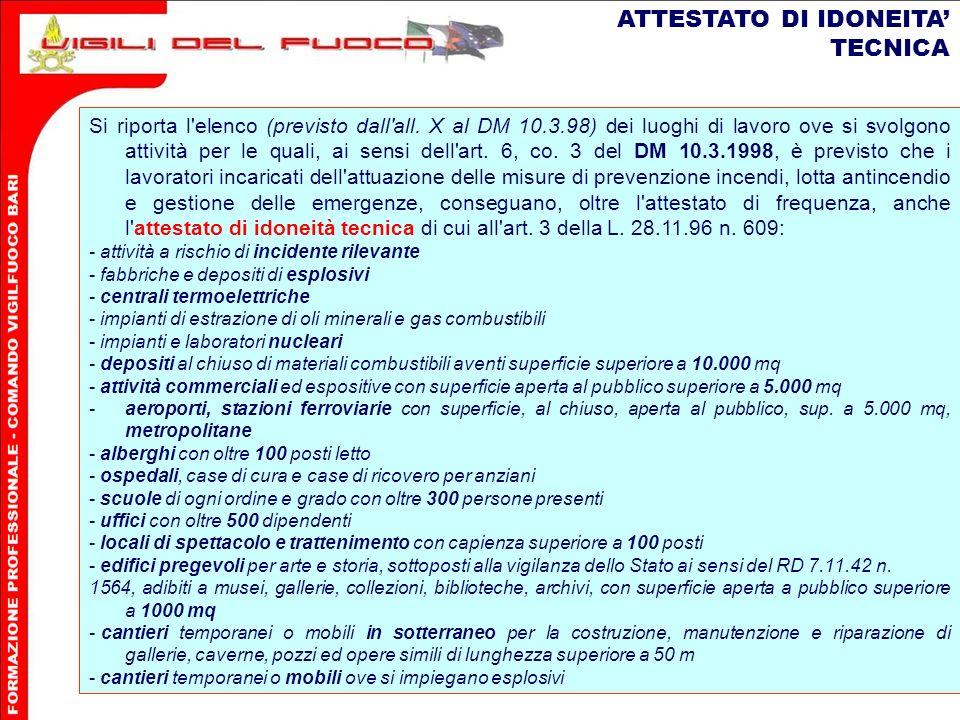 ATTESTATO DI IDONEITA' TECNICA