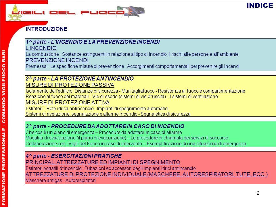 INDICE INTRODUZIONE 1^ parte - L'INCENDIO E LA PREVENZIONE INCENDI