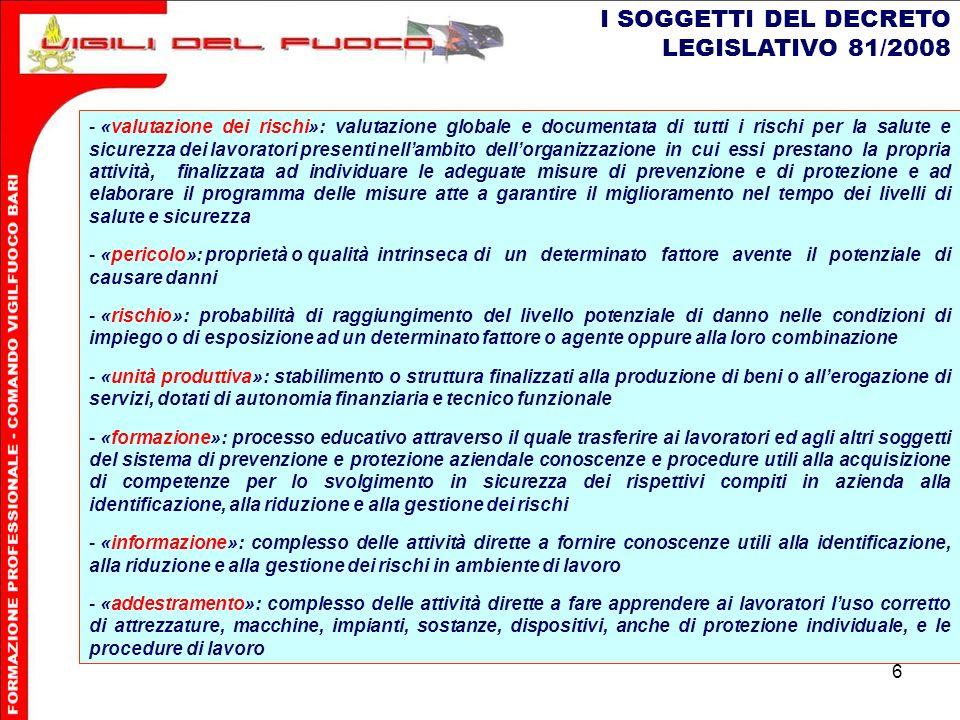 I SOGGETTI DEL DECRETO LEGISLATIVO 81/2008