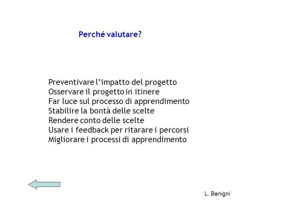 Preventivare l'impatto del progetto Osservare il progetto in itinere