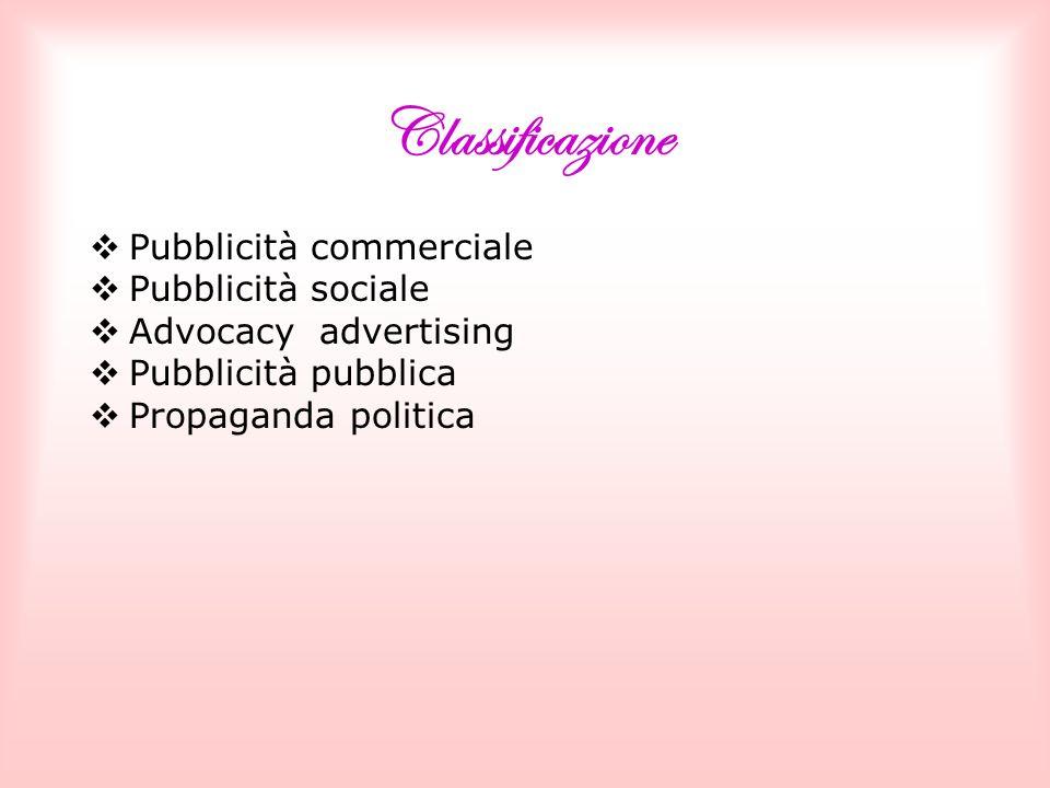 Classificazione Pubblicità commerciale Pubblicità sociale