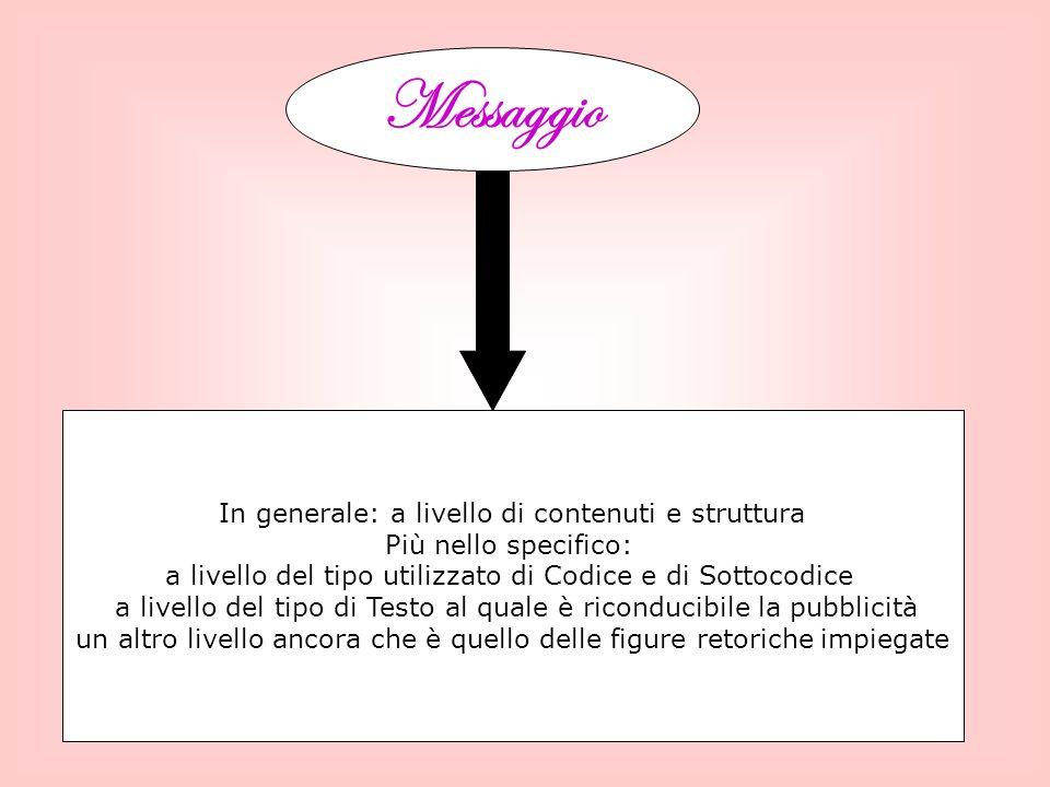 Messaggio In generale: a livello di contenuti e struttura
