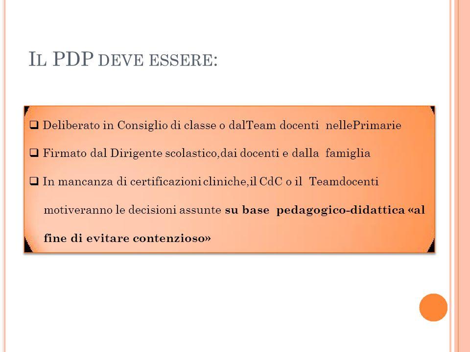 IL PDP DEVE ESSERE:  Deliberato in Consiglio di classe o dalTeam docenti nellePrimarie.
