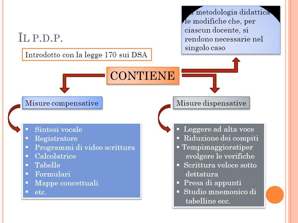 IL P.D.P. CONTIENE La metodologia didattica e le modifiche che, per