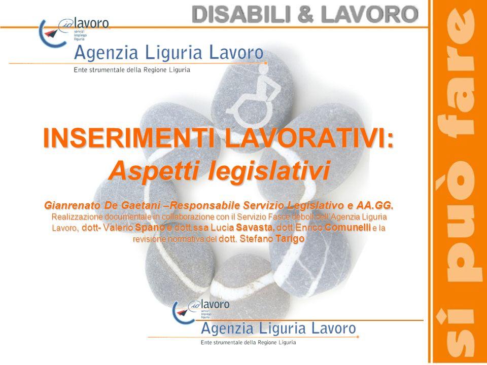 INSERIMENTI LAVORATIVI: Aspetti legislativi Gianrenato De Gaetani –Responsabile Servizio Legislativo e AA.GG.