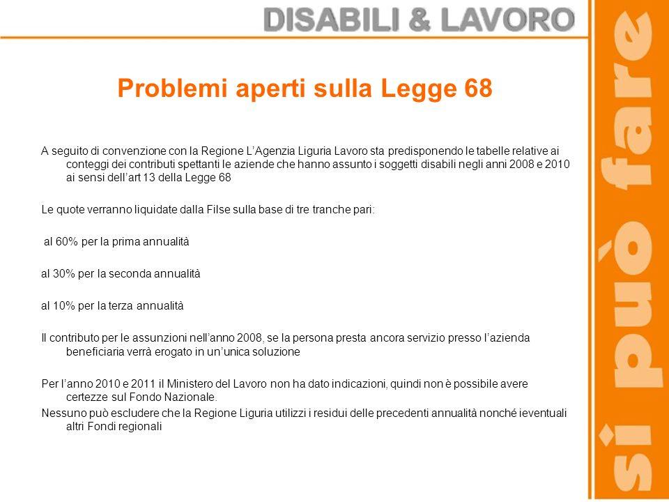 Problemi aperti sulla Legge 68