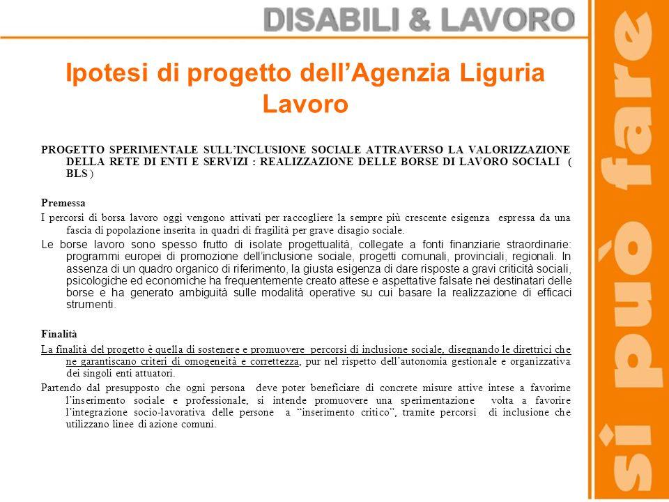 Ipotesi di progetto dell'Agenzia Liguria Lavoro