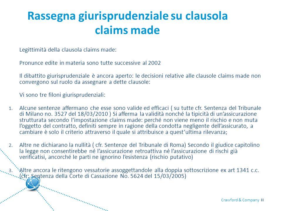 Rassegna giurisprudenziale su clausola claims made