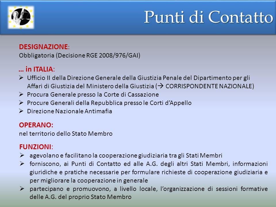 Punti di Contatto DESIGNAZIONE: … in ITALIA: OPERANO: FUNZIONI: