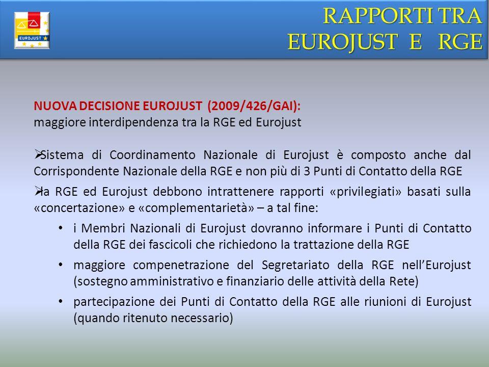 RAPPORTI TRA EUROJUST E RGE NUOVA DECISIONE EUROJUST (2009/426/GAI):