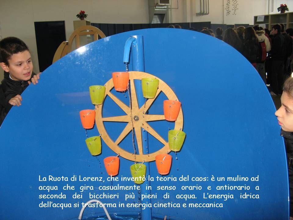 La Ruota di Lorenz, che inventò la teoria del caos: è un mulino ad acqua che gira casualmente in senso orario e antiorario a seconda dei bicchieri più pieni di acqua.