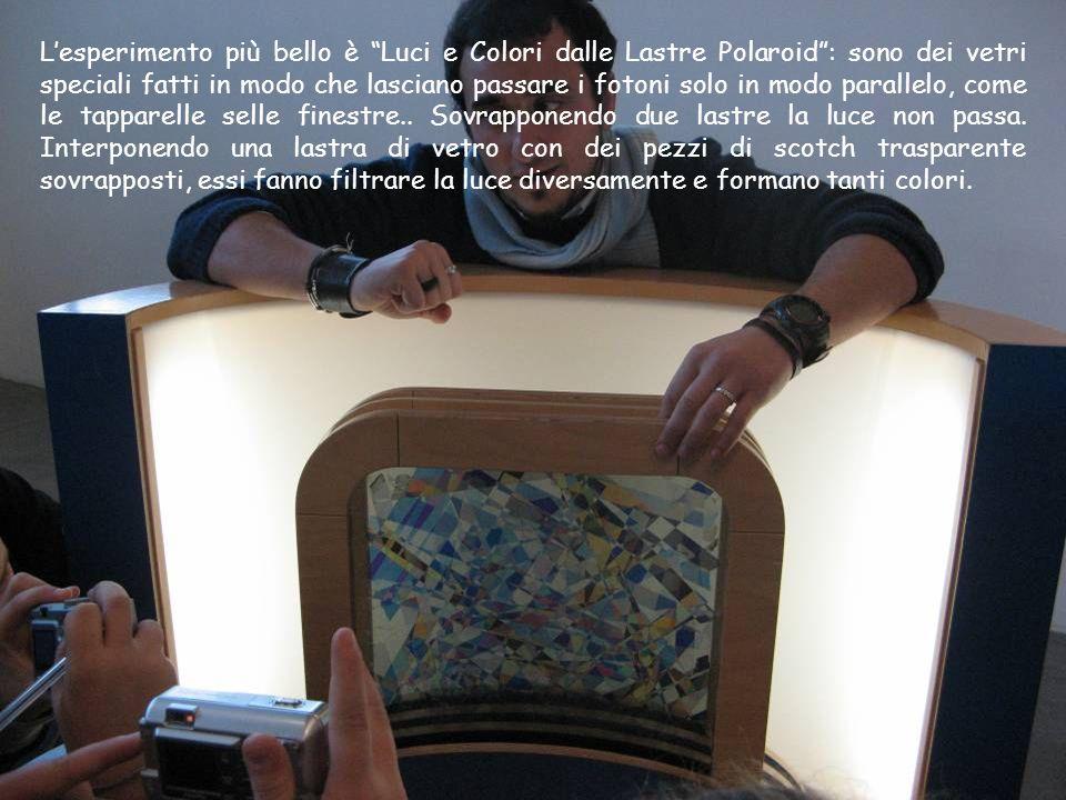 L'esperimento più bello è Luci e Colori dalle Lastre Polaroid : sono dei vetri speciali fatti in modo che lasciano passare i fotoni solo in modo parallelo, come le tapparelle selle finestre..